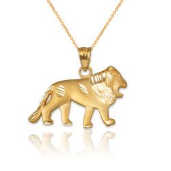 Yellow Matte Gold Lion DC Pendant Necklace