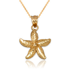 Solid Gold Starfish DC Pendant Necklace