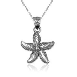 Solid Sterling Silver Starfish DC Pendant Necklace