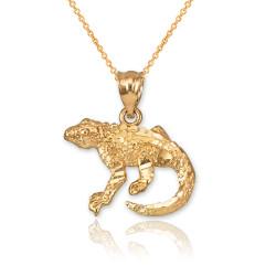 Yellow Gold Salamander Lizard DC Pendant Necklace