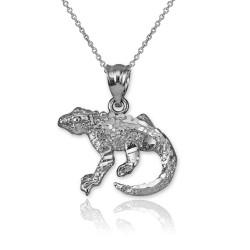 White Gold Salamander Lizard DC Pendant Necklace