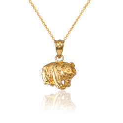 Yellow Gold Tiny Grizzly Bear DC Charm Necklace