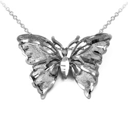 Solid White Gold Butterfly DC Pendant Necklace