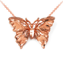 Solid Rose Gold Butterfly DC Pendant Necklace