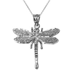 Solid White Gold Dragonfly DC Pendant Necklace