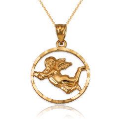 Yellow Gold Flying Angel Round DC Pendant Necklace