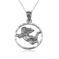 White Gold Flying Angel Round DC Pendant Necklace