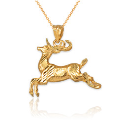 Yellow Gold DC Deer Pendant Necklace