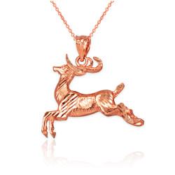 Rose Gold DC Deer Pendant Necklace