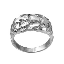 Polished Sterling Silver Mens Nugget Ring
