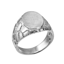 White Gold Oval Signet Mens Nugget Band  Ring