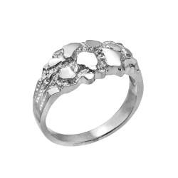 White Gold Elegant Nugget Ring