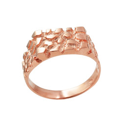 Mens Rose Gold Rectangular Nugget Ring