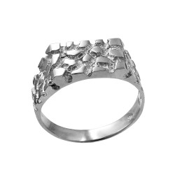 Mens Sterling Silver Rectangular Nugget Ring