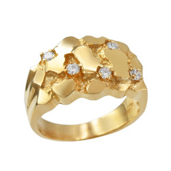 Mens Yellow Gold CZ Nugget Ring