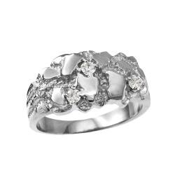 White Gold Elegant CZ Nugget Ring