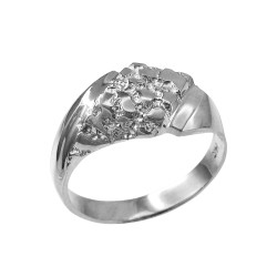 Mens Sterling Silver Diamond-shape Nugget Ring