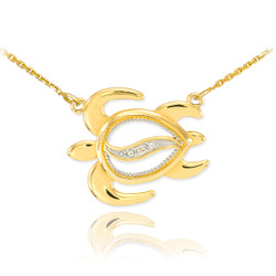 14k Gold Hawaiian Diamond Turtle Necklace