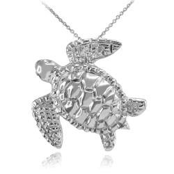 Sterling Silver Sea Turtle Pendant Necklace