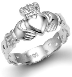 White Gold Ladies Claddagh Trinity Band Ring