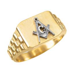 Mens Gold Masonic Ring