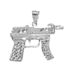 925 Sterling Silver Machine Pistol Gun Diamond-Cut Pendant