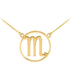 14K Polished Gold Scorpio Zodiac Sign Necklace