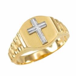 Mens Gold Cross Ring