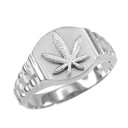White Gold Marijuana Ring