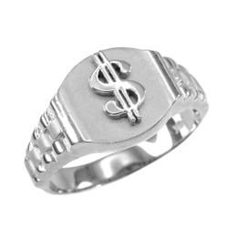 White Gold Dollar Sign Mens Hip-Hop Ring