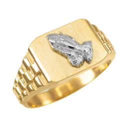 Gold Praying Hands Religious Ring