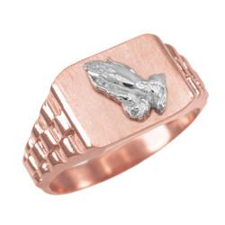 Rose Gold Praying Hands Mens Rectangular Ring