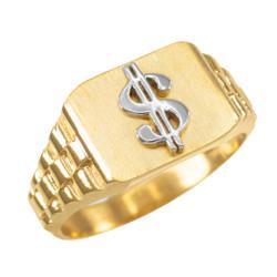 Gold Dollar Sign Mens Ring