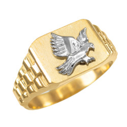 Mens Gold American Eagle Ring