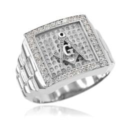 Silver Watchband Design Men's Masonic Iced CZ Ring