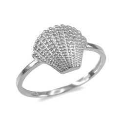 Silver conch shell ring.