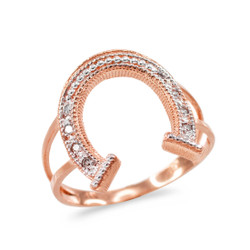 Dainty Rose Gold Lucky Horseshoe Diamond Pave Ladies Ring