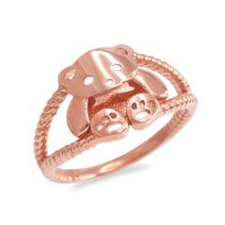 Rose Gold Cute Teddy Bear Ladies Ring