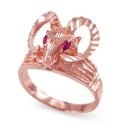 Rose Gold Ram Head Red CZ Textured Ring