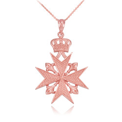 Rose Gold Maltese Cross Pendant Necklace