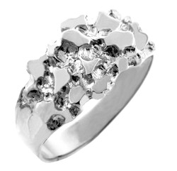 Sterling Silver Men's Knight Nugget Ring