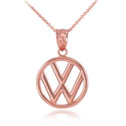 Rose Gold VW Volkswagen Logo Charm Necklace