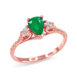 Emerald and White Topaz Stackable Rose Gold Rope Band Promise Ring