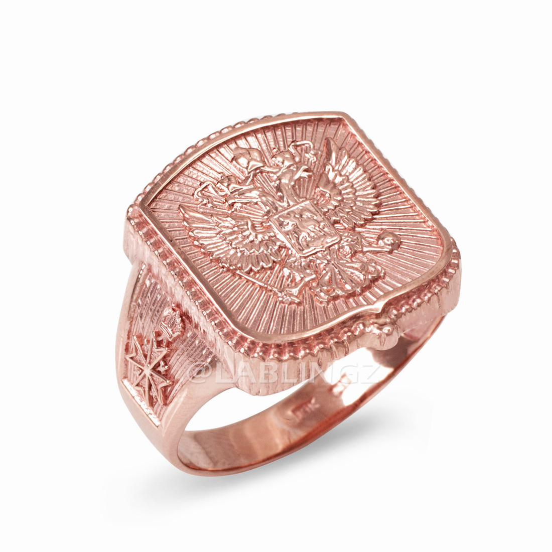 Rose Gold Russian Imperial Crest Double-headed Eagle Mens Orthodox Ring