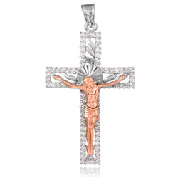 Two-Tone White and Rose Gold CZ Crucifix Pendant