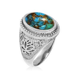 Sterling Silver Lotus Blue Copper Turquoise Yoga Statement Ring