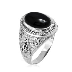 Sterling Silver Masonic Ring with Black Onyx Gemstone