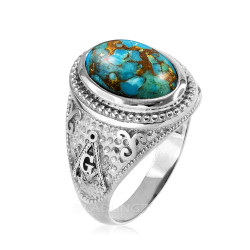 Sterling Silver Masonic Ring with Blue Copper Turquoise