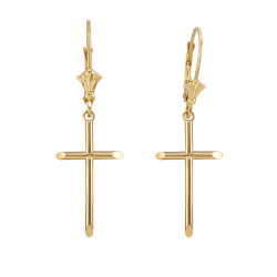 14K Polished Yellow Gold Plain Tube Cross Earrings
