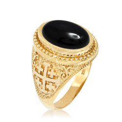 Yellow Gold Jerusalem Cross Black Onyx Gemstone Statement Ring